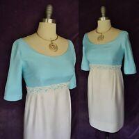 Vtg 1950's 60's HARRY KEISER mod Jackie O Mad men crochet lace party dress