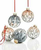 Holiday Lane Set Of 5 Glass Ball Ornaments NEW