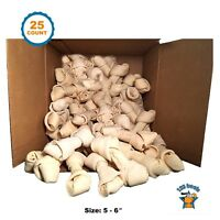 "Rawhide Bones for Dogs | 5-6"" Pack of 25 Count 100% Natural"