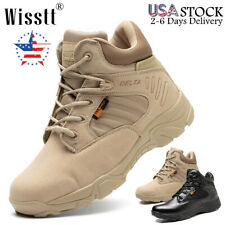 Mens Hiking Army Boots Desert Lace Up Military Ankle Wide Combat SWAT Work Shoes