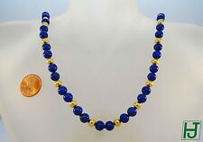 """Brand New 26"""" Necklace 7mm Lapis Beads 14k Gold, Chinese Happiness clasp"""