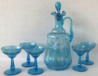 Vintage Bohemian Decanter Set Aqua Blue Hand Painted With Cordial Glasses MCM