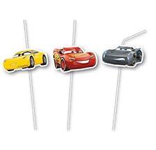 6pk Cars 3 Medallion Flexi Drinking Straws Birthday Party Tableware