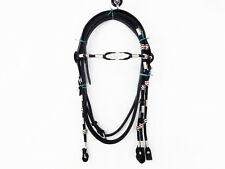 BLACK RAWHIDE SILVER POCO WESTERN HORSE TRAIL LEATHER BRIDLE HEADSTALL TACK SET