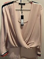 Bcbgmaxazria Womens High Low Twisted Front Blouse Bare Pink Size M