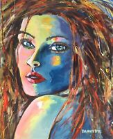 Lola Face Portrait Original Art Painting DAN BYL Modern Contemporary Huge 4x5ft