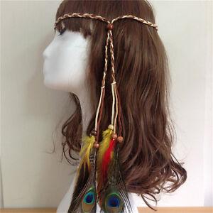 Bohemian Peacock Feather Braided Headband Hair Head Band Accessories For Gir.DD