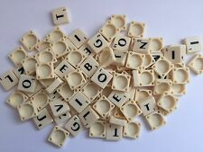 SCRABBLE TILES IVORY PLASTIC BLACK LETTERS 100 -FULL SETS UK SELLER