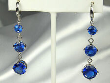 BLUE SAPPHIRE Earrings OR Pendants~18K Double Plated WHITE GOLD~FAB Facet Work!!