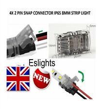4 X HIPPO-M SERIES  WIRE TO 8MM IP65 LED STRIP SNAP CONNECTORS SOLDERLESS