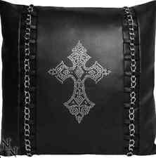 Nemesis Now Gothic Diamante Cross Faux Leather Cushion