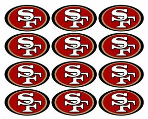 """One Dozen San Francisco 49ers Cupcake Toppers Edible Image 2"""" Frosting Circles"""