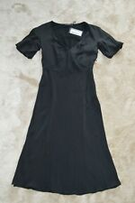 Prada Crepe de Chine Black Silk Short Sleeve Side Zip Pencil Dress ITA 40 UK 8