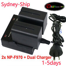 2xBattery NP-F970 +Dual Charger fr Sony DSR-PD150 DSR-PD150P DSR-PD170 GV-HD700