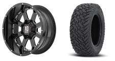 """22x10 XD Buck XD825 Black Wheel and Tire Package 33"""" Fuel MT 6x5.5 Chevy GMC"""