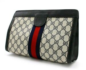 【Rank A】 Authentic Gucci Sherry GG Supreme Clutch Hand Bag Second PVC Vintage
