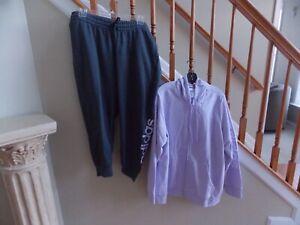 Women's NWT Adidas Purple Tint Jacket & Grey Heather Sweatpants Plus Size 3X/2X