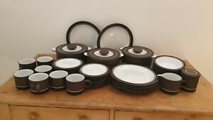 Large Quality Hornsea Pottery Dinner Service Retro Style Brown, Black and White