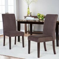 Contemporary Microfiber Upholstered Dining Chairs Set of 2 Parsons Chairs