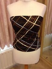 Coast Brown And Tapework Bustier And Knee Length Skirt Suit 14 Ribbon Sequin New