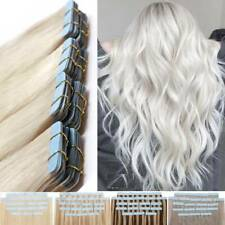 60pcs Tape In Thick Real Human Hair Extensions Skin Weft Full Head #Bleach White