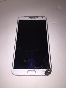 T-mobile Samsung GALAXY Note 3 smartphone cracked screen WHITE parts only