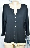 EMMA JAMES Black Ribbed Faux Cardigan Sweater 2X 3/4 Sleeves Beige Lace Trim