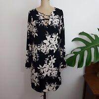 Portmans Dress SZ 8 Black Cream Floral Shift Lace Front Detachable Singlet Linin