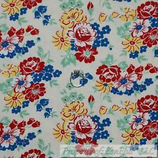 BonEful Fabric FQ Cotton Quilt Cream Yellow Red Blue Shabby Chic Flower Cottage