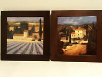 "Pair of 8"" sq. Wood Framed PORCELAIN TILE Trivet HOT PLATE/HANGING WALL ARTWORK"