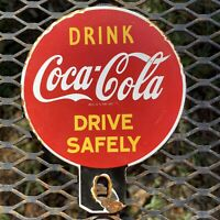 VINTAGE COCA COLA PORCELAIN SIGN LICENSE PLATE TOPPER GAS BEVERAGE COKE SODA POP
