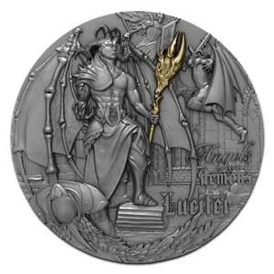 2021 Niue 2 oz Angels & Demons Lucifer High Relief Antique Finish Silver Coin