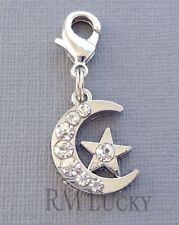 ONE Moon&Star pendant dangle Clip On Charm with Lobster Clasp for Link Chain C28