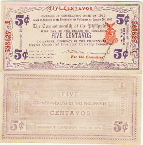 Philippines-Emergency/Guerrilla Currency-Negros, 5 Centavos 1942 AU Cond,P#S-641