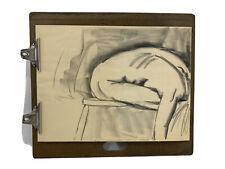 Vtg Charcoal Pastel DRAWING Profile SKETCH Nude PORTRAIT Unframed 1970's (D)