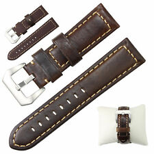 Dark Brown Genuine Leather Watch Strap Wrist Band 24mm, Spring Bars, Pin Buckle