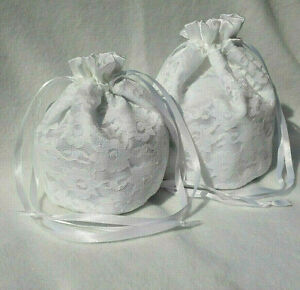 Satin and Lace Drawstring Wedding Bag 2 Sizes 4 colours Bridesmaid Flowergirl