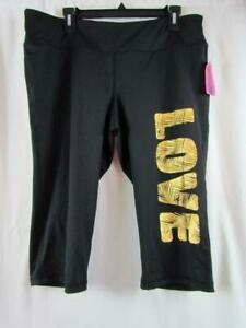 NWT Material Girl Active XXL Black Cropped Gold LOVE Pants Org $34.50