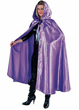 Deluxe PURPLE Satin Hooded Cloak/Cape - GOTHIC / WEDDING ETC