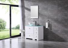 "36"" Bathroom Vanity Pvc Cabinet Ceramic Vessel Sink Glass Top w/ Mirror Set"