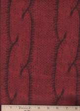 "Fabric Anti-Pill Red & Black Cable Sweater Knit Stripe Print Fleece 58"" x 2 yds"