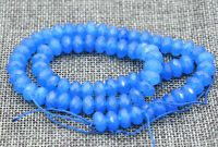 """Charming 5x8mm Faceted Blue Sapphire Gemstone Abacus Loose Beads 15 """""""