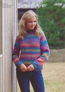 Womens Chunky Knitting Pattern Ladies Long Sleeve Sweater James Brett JB553