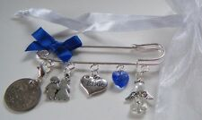 Bride Good Luck Kilt Pin Brooch Something Blue Lucky Sixpence Wedding Day Gift