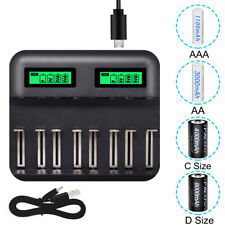 8 Slot LCD Smart Rechargeable C D A AA AAA Size Battery Charger Ni-MH Ni-Cd USB