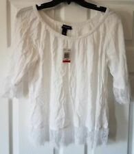 $69 NWT INC Bright White Womens Lace Trim Peasant Blouse Top Size XS XSmall