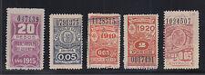 Argentina, Santa Fé, 1915-1921 Documents Fiscals, 5 diff, F-VF