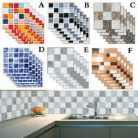 6 Pcs 3D Mosaic Wall Sticker Self-adhesive Tile Sticker Decal Bathroom Kitchen