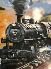 Old Painting Train Locomotive Railroad Bridge River Mountains Old West Signed