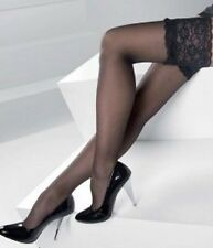 ULTRA SHEER WIDE LACE HOLD UPS  BLACK